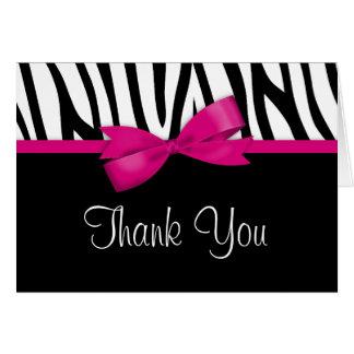 Cartão Obrigado do arco do rosa quente da zebra você