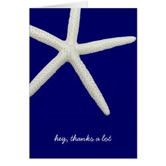 Cartão Obrigado do azul marinho e o branco melhor do
