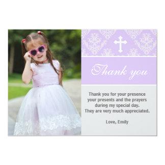 Cartão Obrigado do baptismo você nota a lavanda feita sob