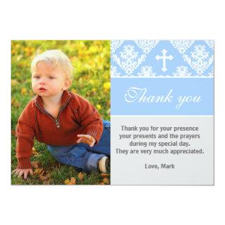 Cartão Obrigado do baptismo você nota o azul feito sob