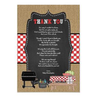 Cartão Obrigado do bebê Q você notas com poema/chá de