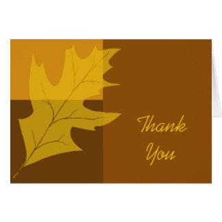 Cartão Obrigado do bloco da cor da folha da queda você