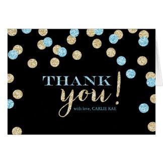 Cartão Obrigado do brilho de turquesa e de ouro você