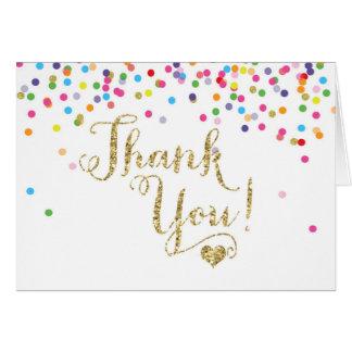 Cartão Obrigado do brilho do ouro dos confetes você