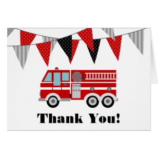 Cartão Obrigado do carro de bombeiros você