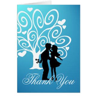 Cartão Obrigado do casal da silhueta você