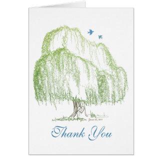 Cartão Obrigado do casamento da árvore de salgueiro você