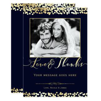 Cartão Obrigado do casamento da foto dos confetes do azul
