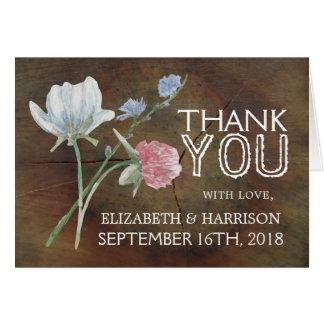 Cartão Obrigado do casamento da madeira de carvalho do
