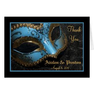 Cartão Obrigado do casamento da máscara do mascarada da