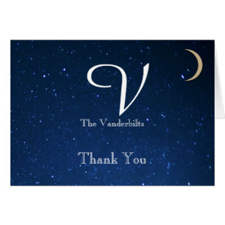 Cartão Obrigado do casamento da noite estrelado você