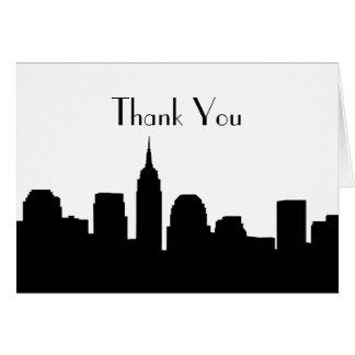 Cartão Obrigado do casamento da skyline de NYC você
