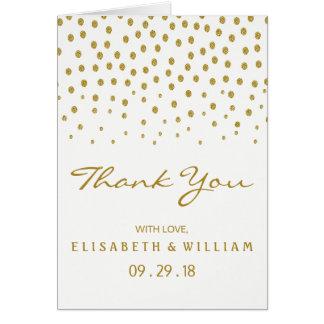Cartão Obrigado do casamento das bolinhas do ouro você