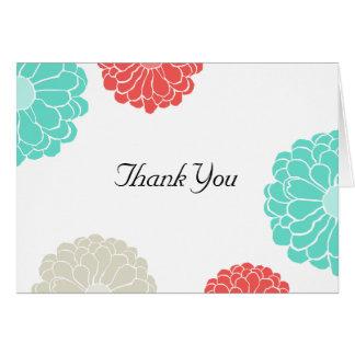 Cartão Obrigado do casamento de turquesa & de flor do