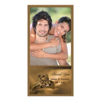Cartão Obrigado do casamento do anel de diamante da