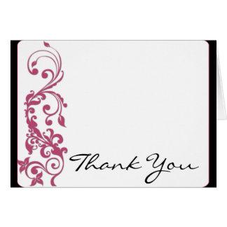 Cartão Obrigado do casamento do canto arredondado do rosa
