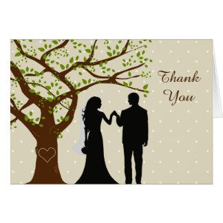 Cartão Obrigado do casamento do carvalho dos noivos você