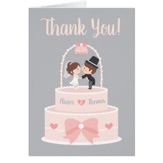 Cartão Obrigado do casamento do chapéu de coco dos noivos
