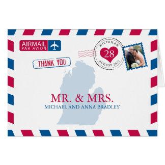 Cartão Obrigado do casamento do correio aéreo de Michigan