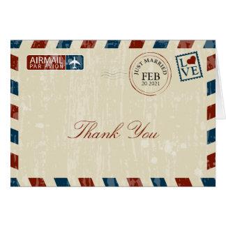 Cartão Obrigado do casamento do correio aéreo do vintage