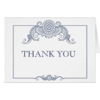 Cartão Obrigado do casamento do design do rolo do vintage