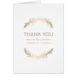 Cartão Obrigado do casamento do louro do vintage do ouro