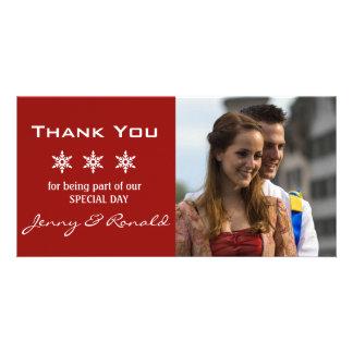 Cartão Obrigado do casamento do Natal do floco de neve