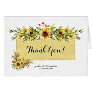Cartão Obrigado do casamento do ouro branco dos buquês