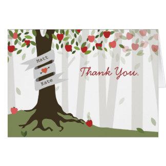 Cartão Obrigado do casamento do pomar de Apple você