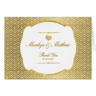 Cartão Obrigado do casamento do quadro do ouro do teste