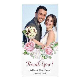 Cartão Obrigado do casamento do rosa do rosa de Borgonha