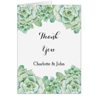 Cartão obrigado do casamento do succulent da aguarela