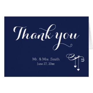 Cartão Obrigado do casamento dos azuis marinhos você