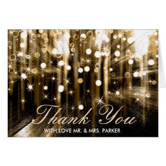 Cartão Obrigado do casamento dos confetes das luzes da
