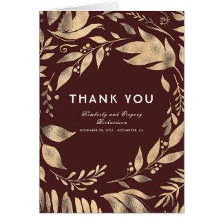 Cartão Obrigado do casamento outono de Borgonha e de ouro