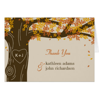 Cartão Obrigado do casamento outono do carvalho você