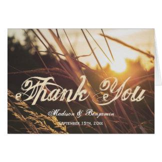 Cartão Obrigado do casamento outono do por do sol do