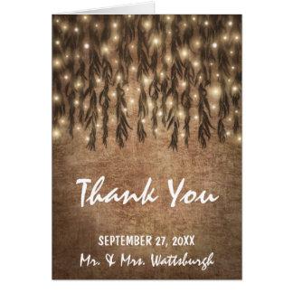 Cartão Obrigado do casamento vintage da árvore de
