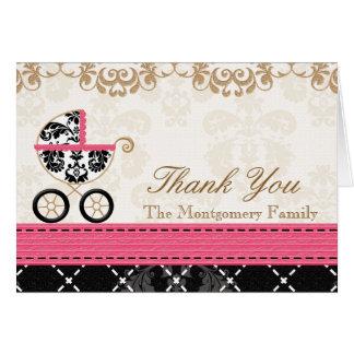 Cartão Obrigado do chá da carruagem de bebê do damasco do