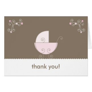Cartão Obrigado do chá de fraldas da carruagem você -