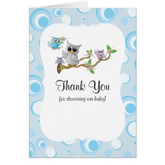 Cartão Obrigado do chá de fraldas da coruja do bebê azul