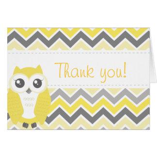 Cartão Obrigado do chá de fraldas da coruja você nota