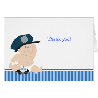 Cartão Obrigado do chá de fraldas do AGENTE DA POLÍCIA