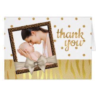 Cartão Obrigado do chá de fraldas do impressão da zebra