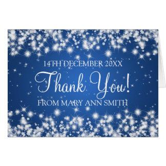 Cartão Obrigado do chá de fraldas você azul da faísca do