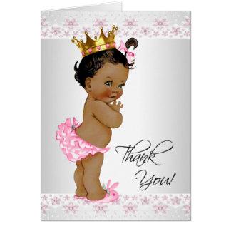 Cartão Obrigado do chá do bebé do afro-americano você
