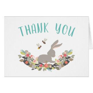Cartão Obrigado do coelho de coelho do primavera você