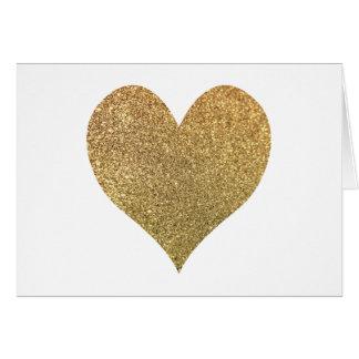Cartão Obrigado do coração do brilho do ouro você