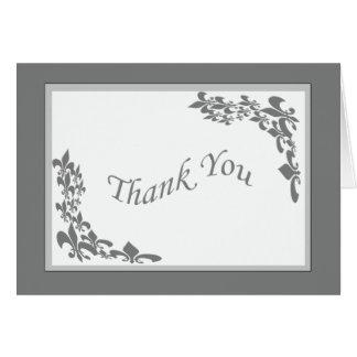 Cartão Obrigado do design da flor de lis você (cinza)