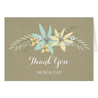 Cartão Obrigado do dia do casamento dos pais você